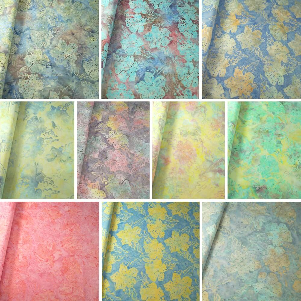 100% Cotton fabric Batik Bali Pastel Hibiscus Collection Palm Leaves Fabric Freedom BK145 Col. J