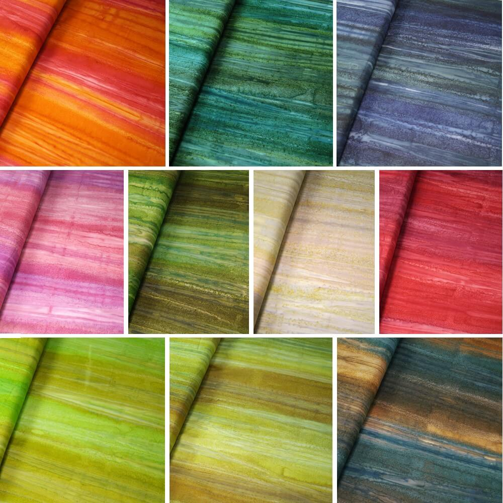 100% Cotton fabric Batik Bali Gradient Lines Palm Leaves Fabric Freedom BK148 Col.  G