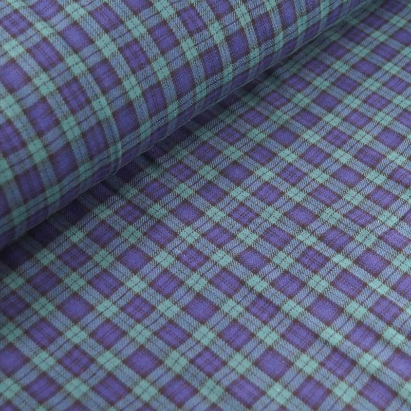 Black Watch 100% Brushed Cotton Fabric Tartan Wincyette Flannel Material