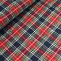 Stewart Black 100% Brushed Cotton Fabric Tartan Wincyette Flannel Material