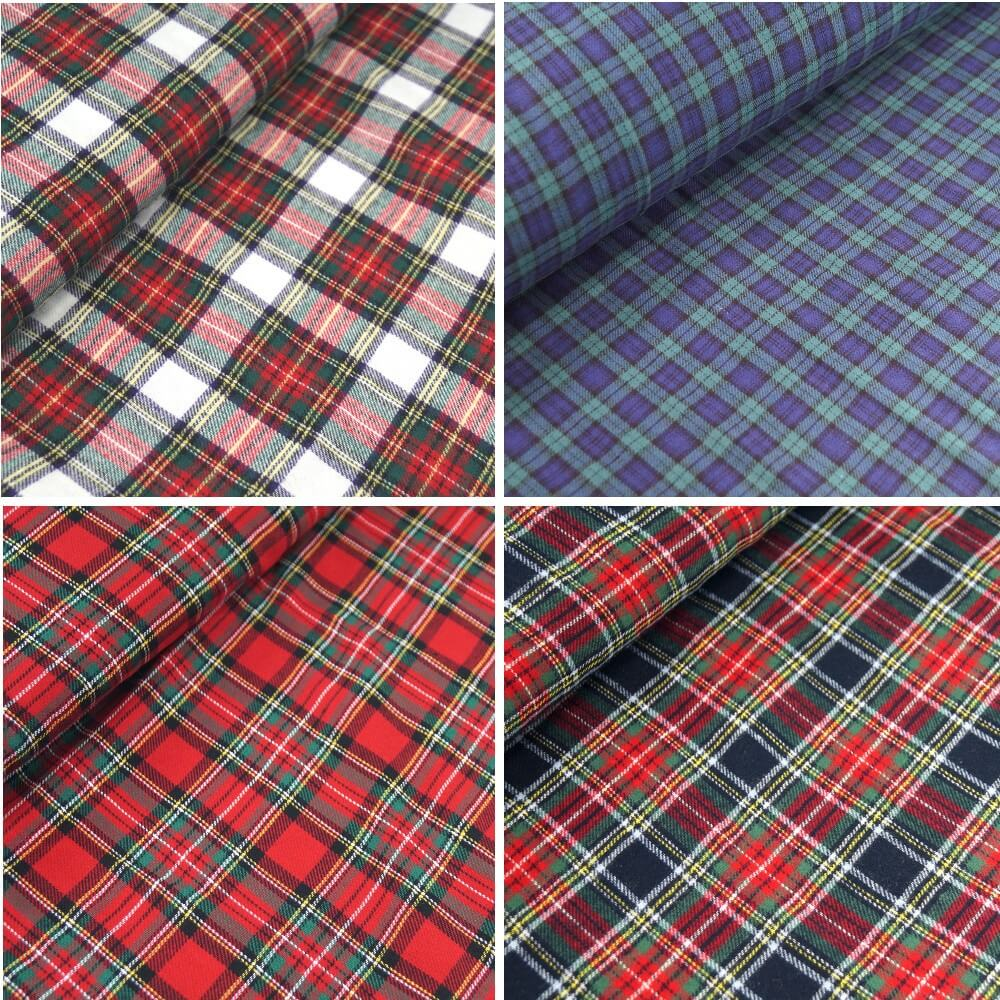 Stewart Black 100% Brushed Cotton Fabric Tartan Wincyette Flannel Material