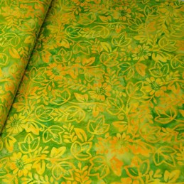 100% Cotton Fabric Batik Ivy Leaves & Flowers Floral Fabric Freedom BK153  Col. A
