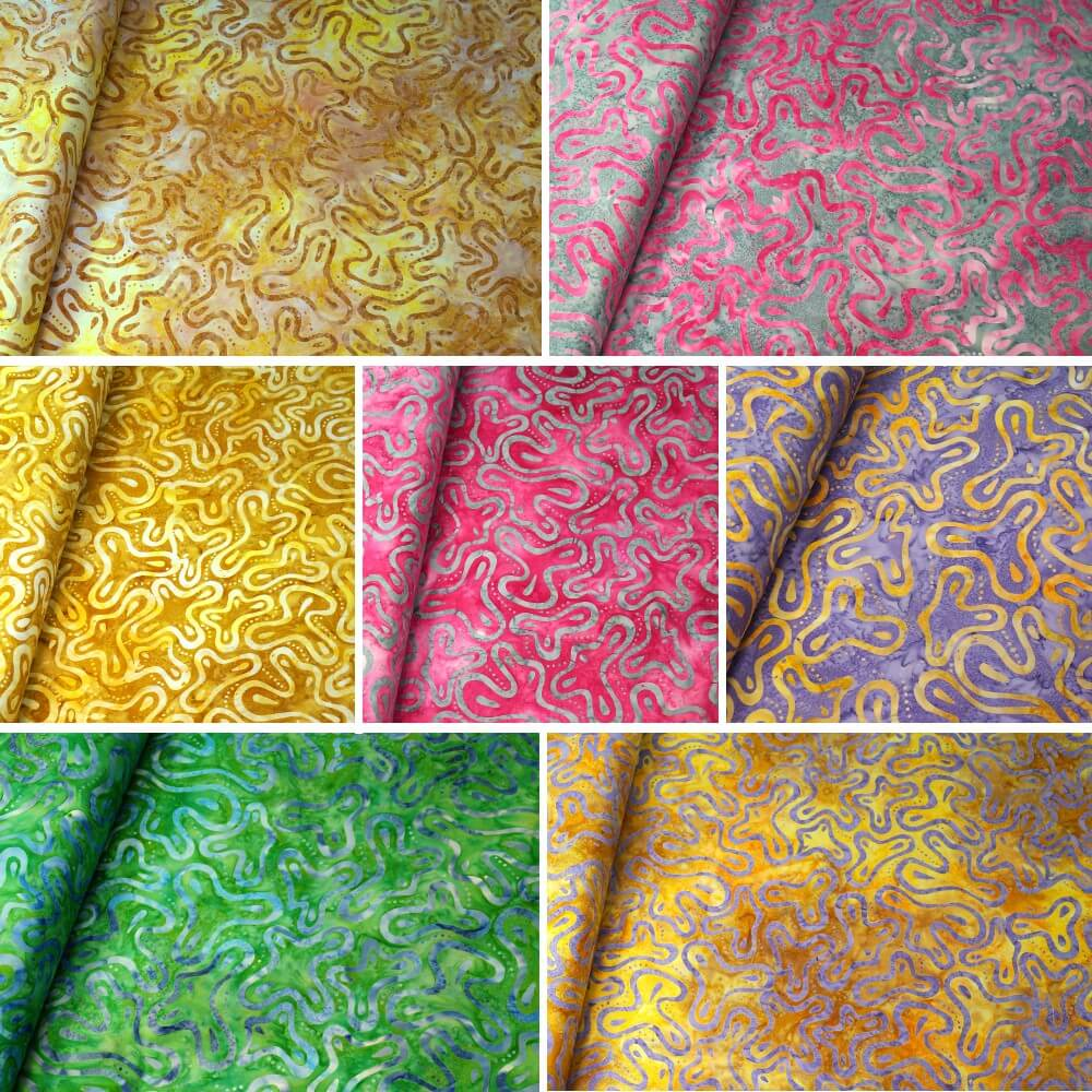 100% Cotton fabric Batik Bali Obscure Floating Shapes Fabric Freedom BK140 Col. J