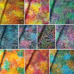 100% Cotton Fabric Batik Bali Swirls & Dots Fabric Freedom BK156