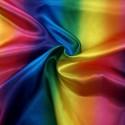 Rainbow Bright Gradient Stripe Silky Satin Polyester Fabric Dressmaking
