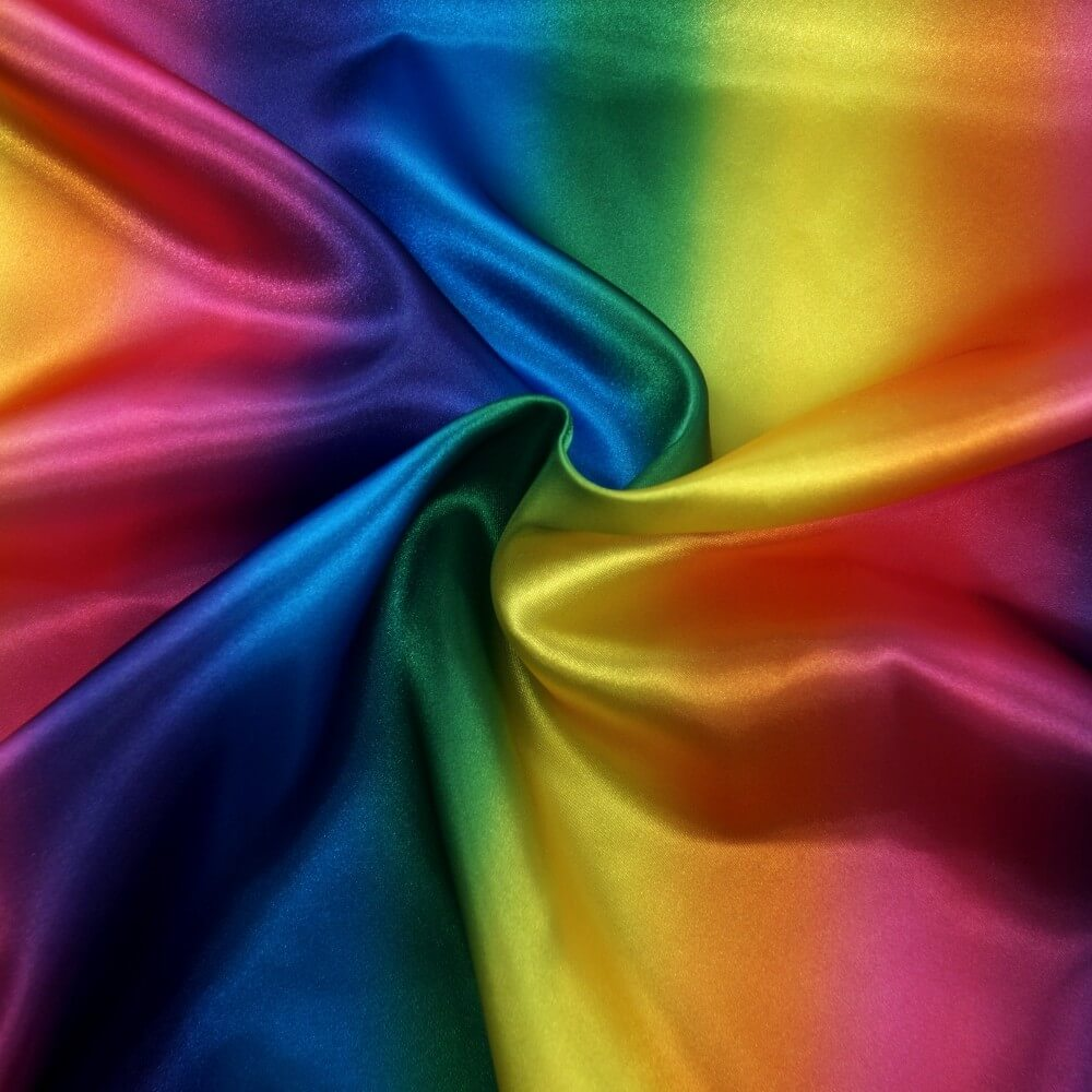 Rainbow Bright Gradient Stripe Silky Satin Polyester Fabric Dressmaking