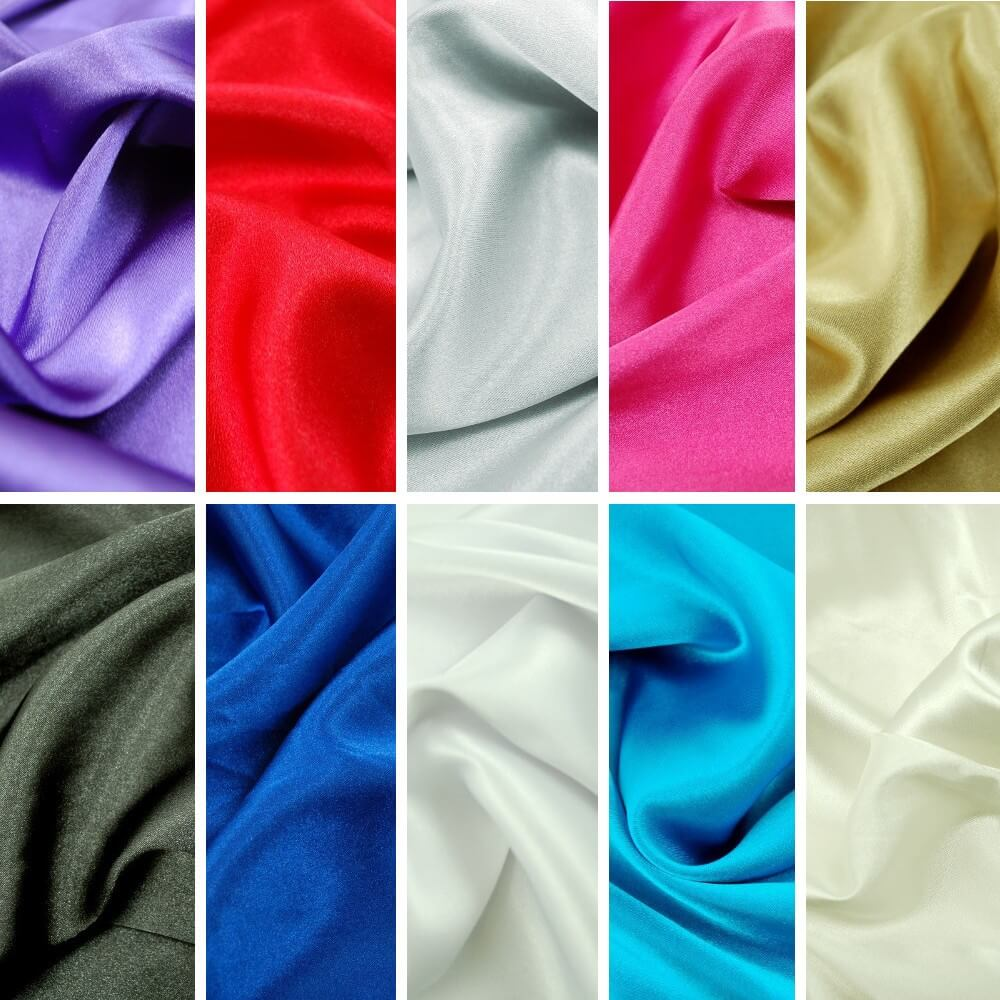 Black Plain Stretch Satin Fabric Material Polyester Spandex Mix