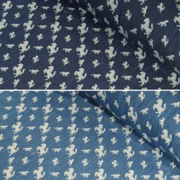 100% Cotton Chambray Leaping Horses Print Lightweight Fabric Denim