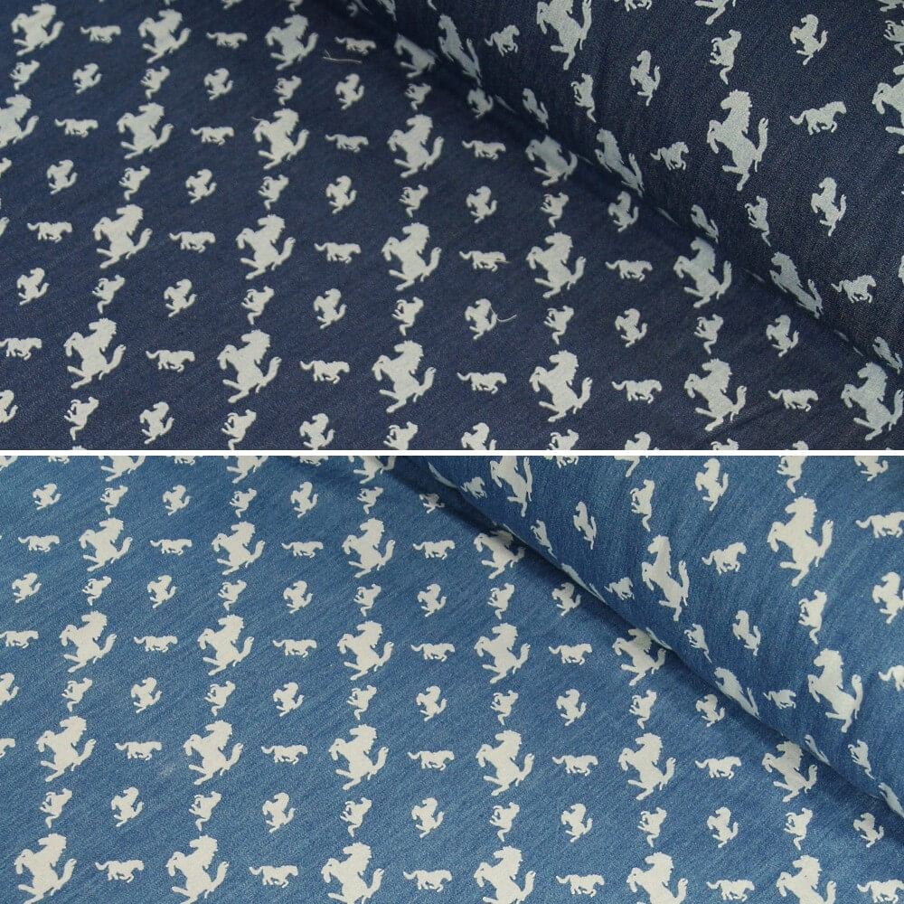 100% Cotton Chambray Leaping Horses Print Lightweight Fabric Denim Blue