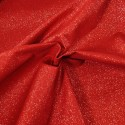 100% Cotton Glitter Sparkle Spangle Crystal Stardust Shimmer Fabric Red