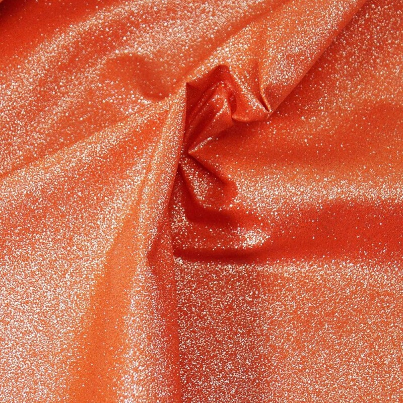 100% Cotton Glitter Sparkle Spangle Crystal Stardust Shimmer Fabric Orange