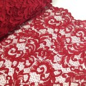 100% Polyester Corded Lace Fabric Bridal Wedding Flower Girl 150cm Col. 6 Wine