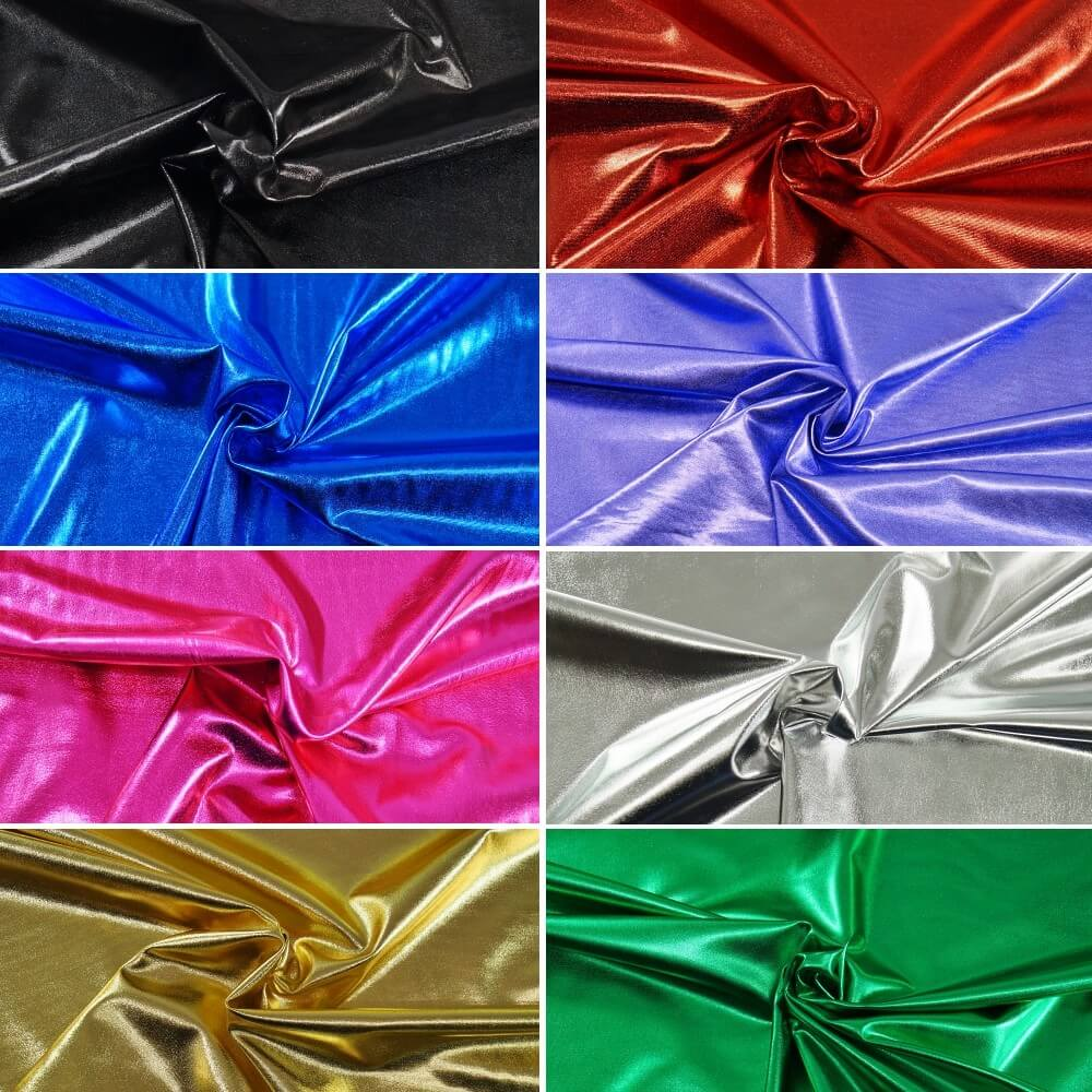 Metallic Elastique 2 Way Stretch Polyester Spandex Fabric Dance Wear Black