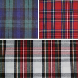 100% Cotton Fabric Flat Weave Tartan Royal Stewart, Black Watch, Dress Stewart