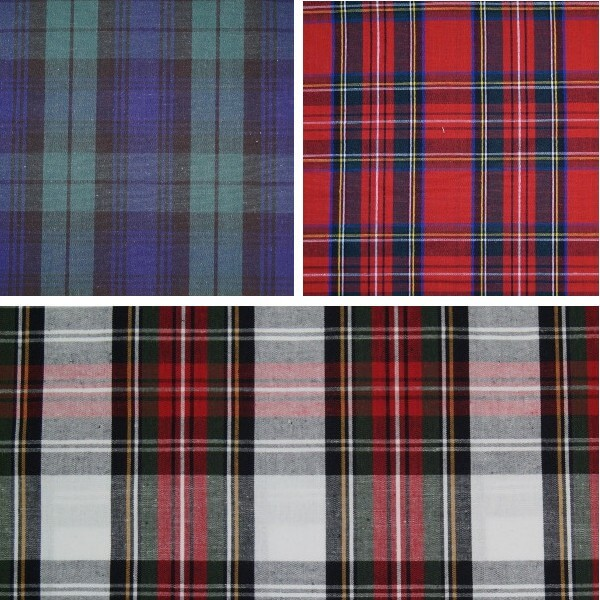 Black Watch 100% Cotton Fabric Flat Weave Tartan