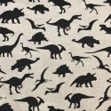 Cotton Rich Linen Fabric Curtain & Upholstery Black Dinosaurs