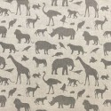 Cotton Rich Linen Fabric Curtain & Upholstery Grey Jungle Animals