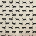 Cotton Rich Linen Fabric Curtain & Upholstery Walking Black Cats