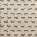 Cotton Rich Linen Fabric Curtain & Upholstery Walking Grey Cats