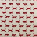 Cotton Rich Linen Fabric Curtain & Upholstery Walking Red Cats