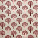 Cotton Rich Linen Fabric Curtain & Upholstery Red Mulberry Trees