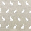 Cotton Rich Linen Fabric Curtain & Upholstery Walking White Cats