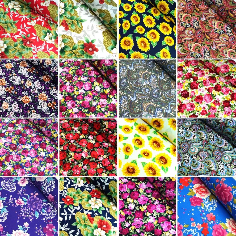100% Cotton Poplin Fabric Floral Flowers F87 Blue