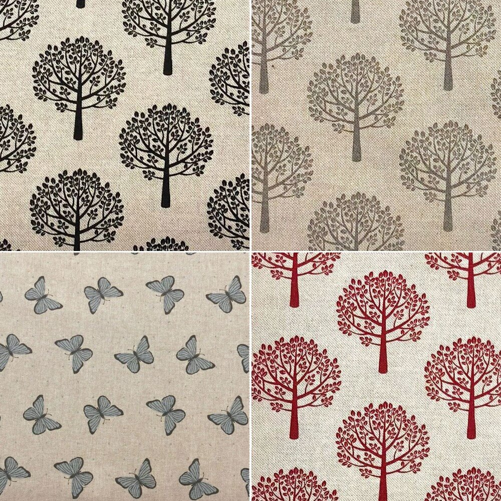 Cotton Rich Linen Look Fabric Red Mulberry Trees