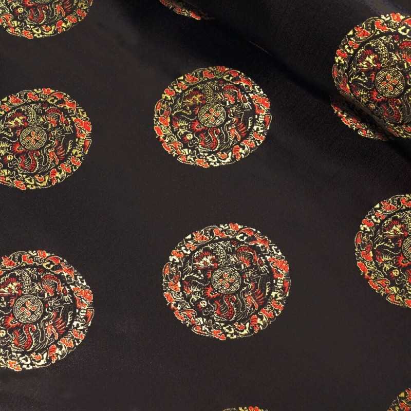100% Polyester Embroidered Chinese Brocade Fabric Freedom Dragon Talisman
