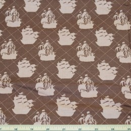 SALE 100% Cotton Fabric Pirate Matey's Pirate Ship On Chocolate Brown