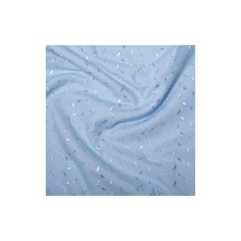 Blue Broderie Anglais 3 Hole Pattern Dress Craft Fabric