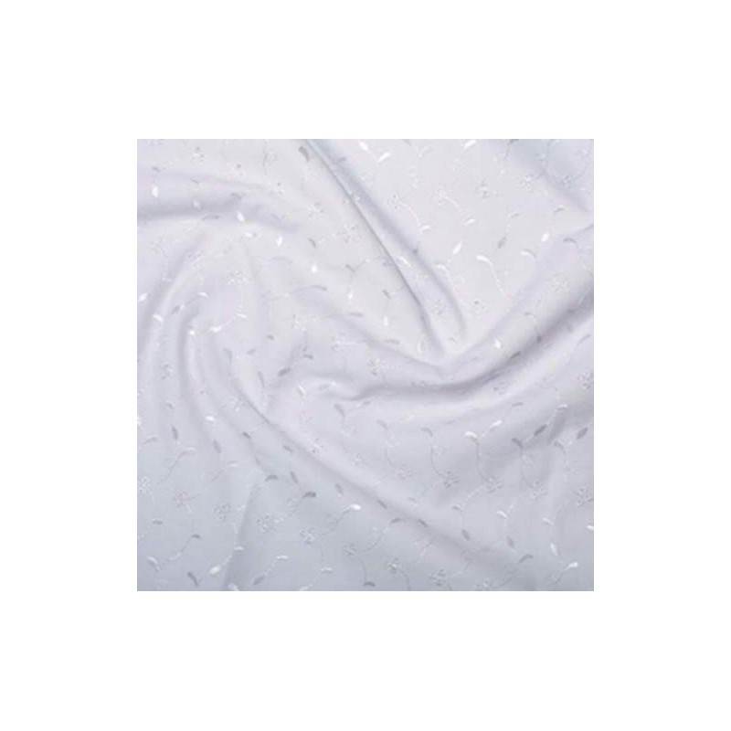 White Broderie Anglais 3 Hole Pattern Dress Craft Fabric