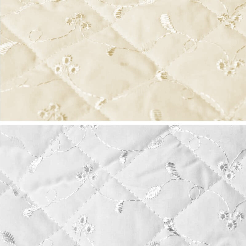 White Quilted 112cm Wide Broderie Anglais 3 Hole Fabric