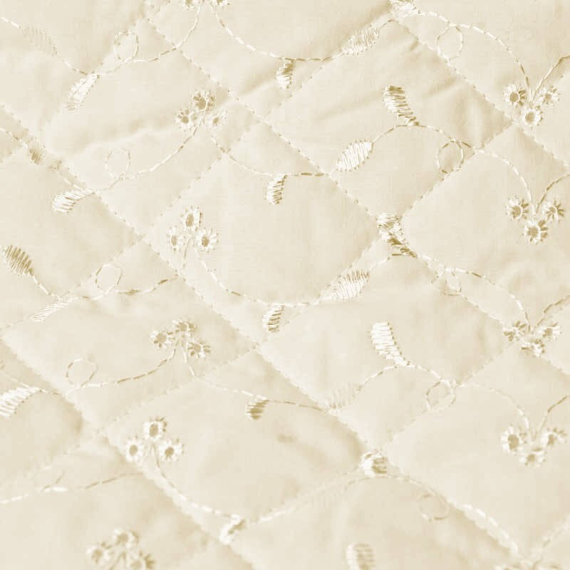 Cream Quilted 112cm Wide Broderie Anglais 3 Hole Fabric