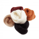 Assorted Browns Natural Wool Roving 50gm Craft Sewing Spinning Fabric AS1 Assorted Browns