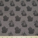 Pirate Matey's Pirate Ship on Dark Brown 100% Cotton Fabric