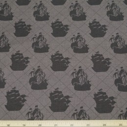 SALE 100% Cotton Fabric Pirate Matey's Pirate Ship On Dark Brown