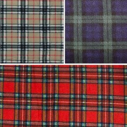 Tartan Fleece Polar Anti Pil Fabric Black Watch, Royal Stewart & Caramel