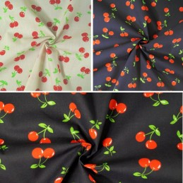 Polycotton Fabric Cherries Cherry Summer Feel Dress