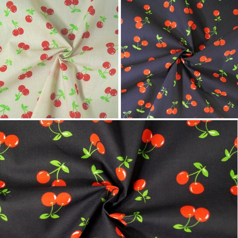 Black Polycotton Fabric Cherries Cherry Summer Feel Dress