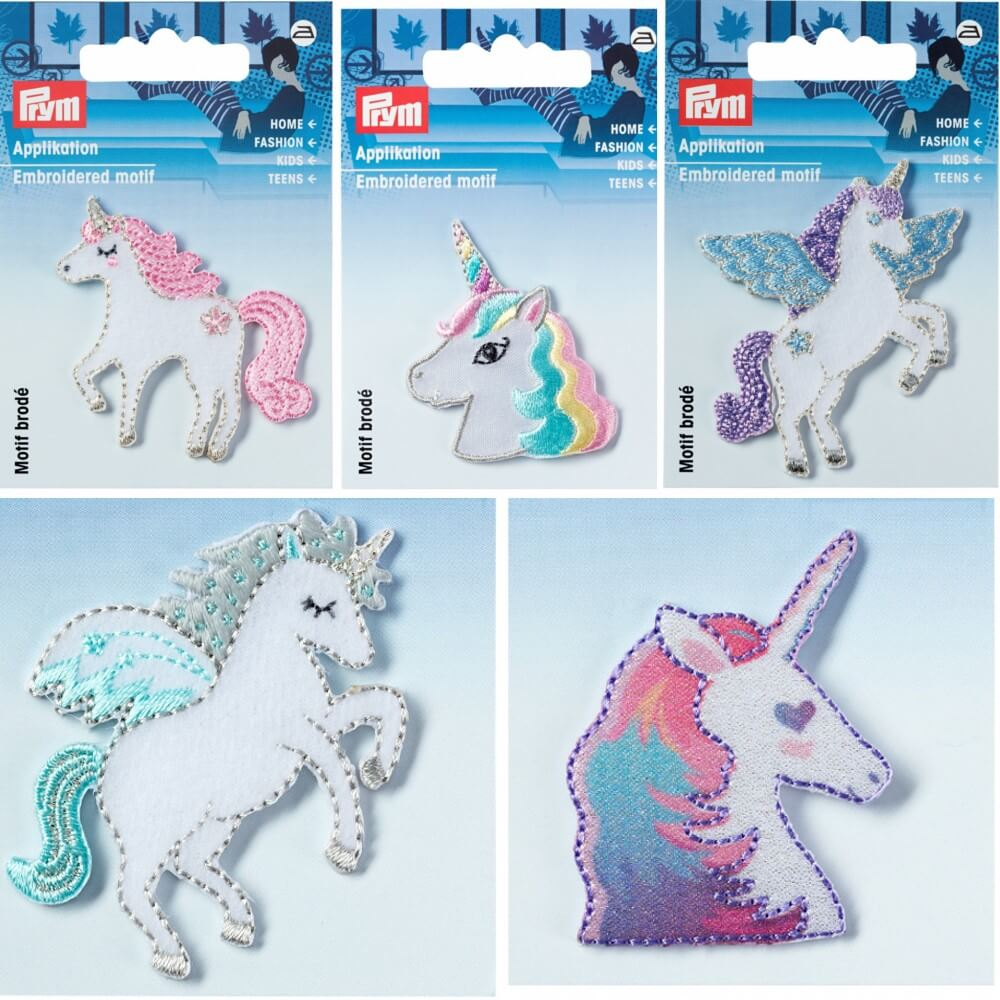 Unicorn Children's Iron On Embroidered Motif Applique Heart Eyes