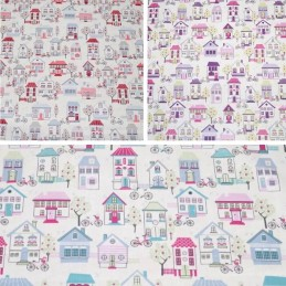 100% Cotton Fabric Lifestyle Home Sweet Home Village 140cm Wide