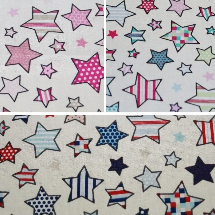 Red/Blue 100% Cotton Fabric Lifestyle Twinkle Little to Large Stars