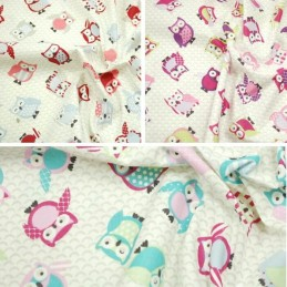 100% Cotton Fabric Lifestyle Toot Owls Polka Dots 140cm Wide