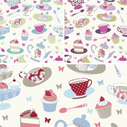 100% Cotton Fabric Lifestyle Afternoon Tea Cupcakes 140cm Wide