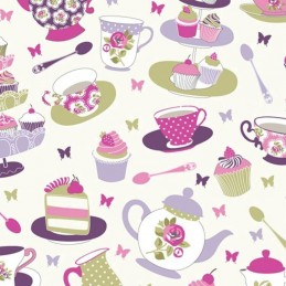 Grape Candy 100% Cotton Fabric Lifestyle Afternoon Tea Cupcakes 140cm Wide
