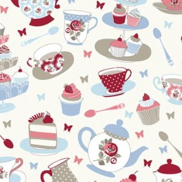 Rose Candy 100% Cotton Fabric Lifestyle Afternoon Tea Cupcakes 140cm Wide