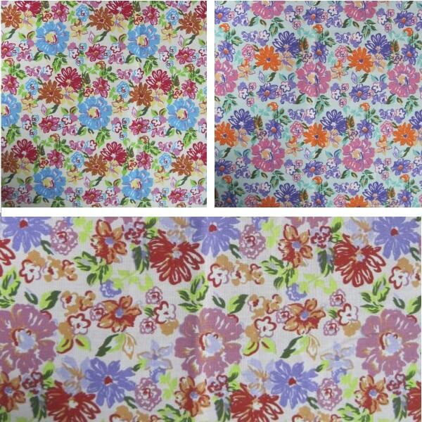 Mint Green Polycotton Fabric Floral Flower Watercoloured Effect