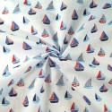 Sailor Rob's Sailing Boat Race Sea Ocean Waves Polycotton Fabric Sky Blue