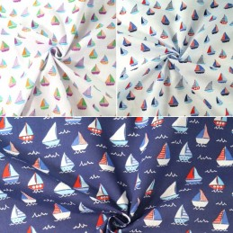 Polycotton Fabric Sailor Rob's Sailing Boat Race Sea Ocean Waves